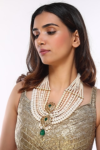 Gold Plated Rose Pearl Necklace by Kiara