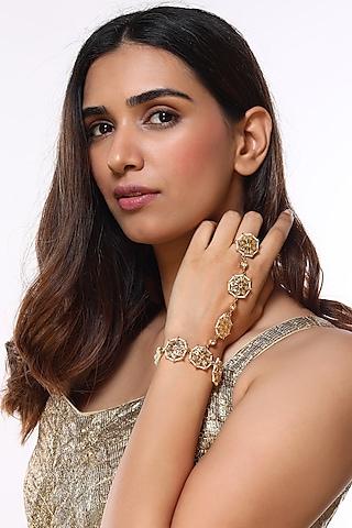 Gold Plated Pearl Bracelet by Kiara