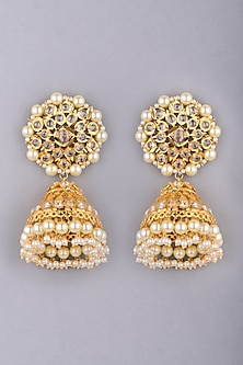 Gold Plated Kundan Jhumka Earrings by Kiara