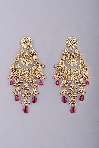 Gold Plated Tourmaline Chaandbali Earrings by Kiara