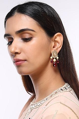 Gold Plated Tourmaline Earrings by Kiara