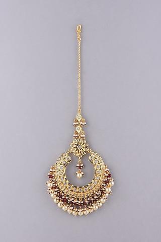 Gold Plated Pearl Maangtikka by Kiara
