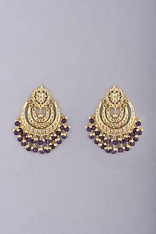 Gold Plated Amethyst Earrings by Kiara