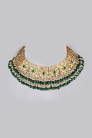 Gold Plated Green Onyx Choker Necklace by Kiara