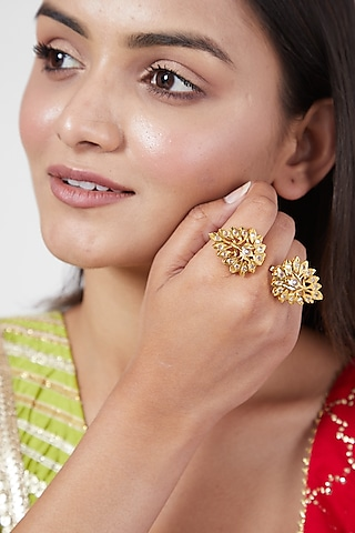 Gold Plated Adjustable Ring With Kundan by Kiara