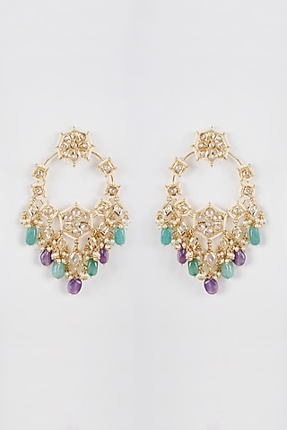 Gold Plated Green & Purple Onyx Chandbali Earrings by Kiara