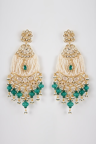 Gold Plated Green Onyx Chandbali Earrings by Kiara