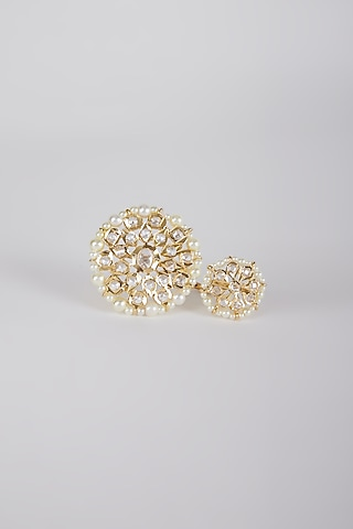 Gold Plated Pearl Adjustable Ring by Kiara