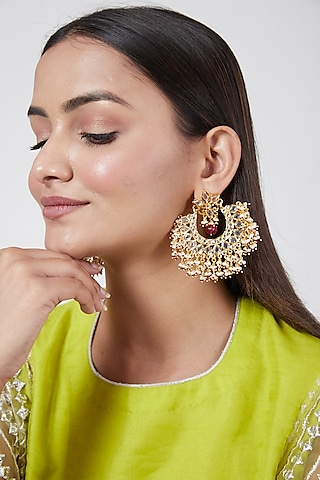 Gold Plated Kundan & Pearl Chandbali Earrings by Kiara