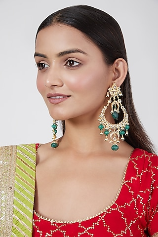 Gold Plated Green Onyx And Kundan Chandbali Earrings by Kiara