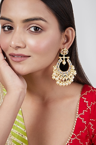 Gold Plated Pearls Chandbali Earrings by Kiara