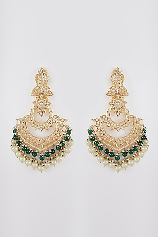 Gold Plated Pearl Chandbali Earrings by Kiara