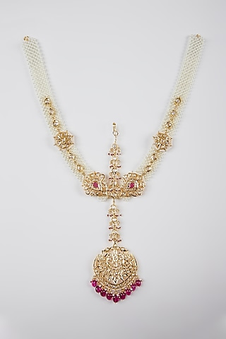 Gold Plated Pearls Mathapatti by Kiara