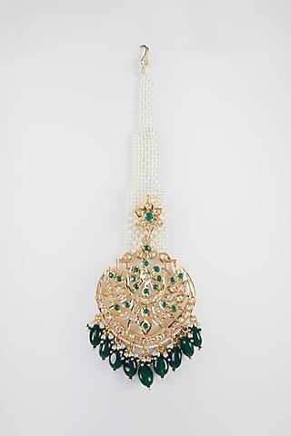 Gold Plated Pearl & Kundan Maang Tikka by Kiara