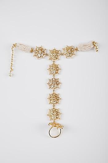 Gold Plated Pearls & Kundan Bracelet by Kiara