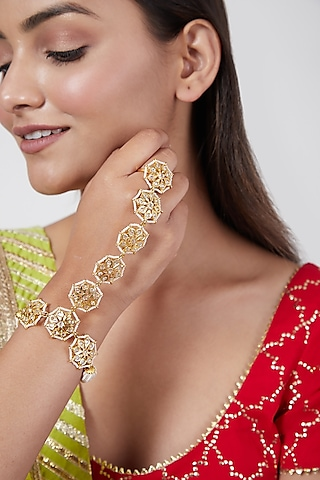 Gold Plated Pearls & Kundan Bracelet by Kiara