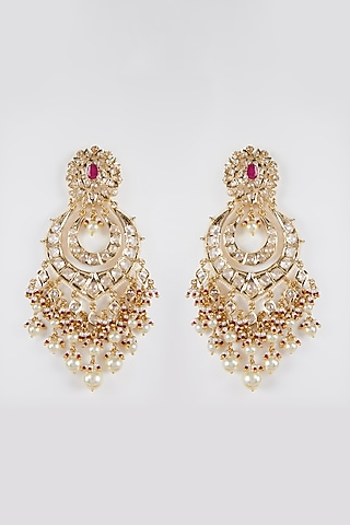 Gold Plated Kundan Chandbali Earrings by Kiara