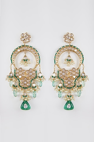 Gold Plated Crystal Chandbali Earrings by Kiara