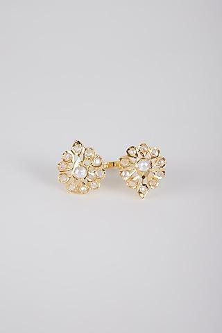 Gold Plated Kundan Adjustable Ring by Kiara