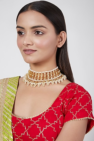 Gold Plated Kundan Choker Necklace by Kiara