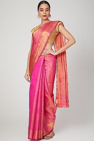 Hot Pink Saree Set With Zari Weaving by Kalaneca