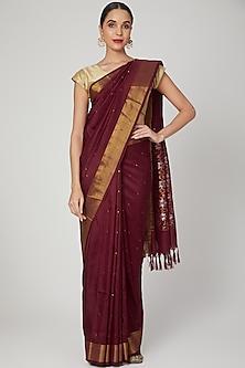 Maroon Jamdani Saree Set With Weaving by Kalaneca