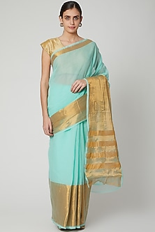 Mint Green Handwoven Cotton Saree by Kalaneca
