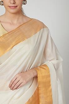 White Silk Saree With Golden Border by Kalaneca