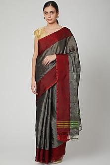Grey Silk Saree With Red Border by Kalaneca