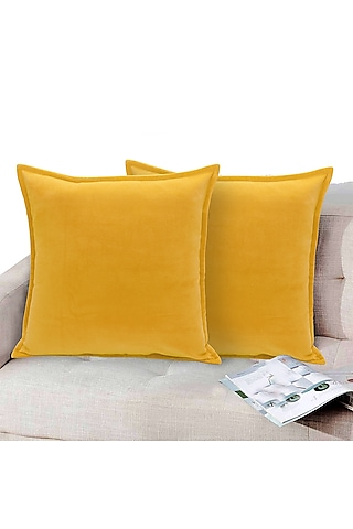 Yellow Soft Velvet Pillow Cover by Kalakari Home