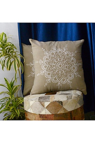 Beige Embroidered Pillow Cover by Kalakari Home