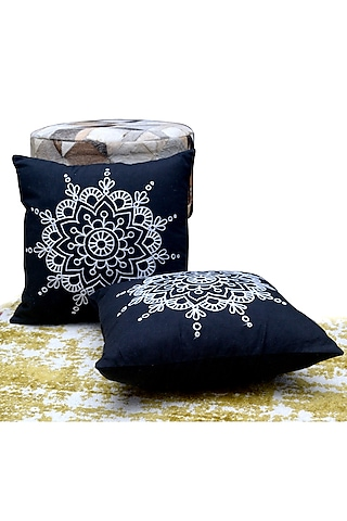Navy Blue Embroidered Pillow Cover by Kalakari Home