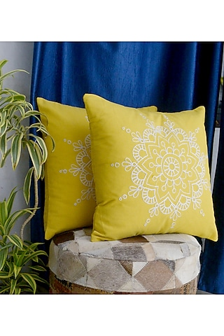 Yellow Embroidered Pillow Cover by Kalakari Home