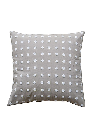 Grey Tufting Embroidered Pillow Cover by Kalakari Home