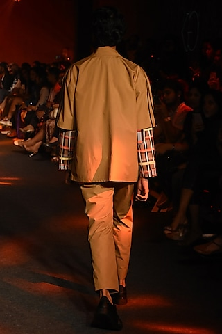 Beige Pintuck Printed Trouser Pants by Kanika Goyal Men