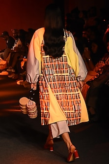 Multi Colored Printed Trench Coat by Kanika Goyal