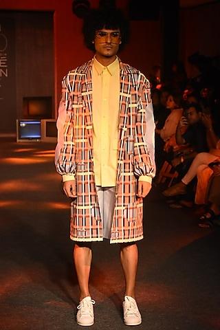 Beige Printed Trench Coat by Kanika Goyal Men