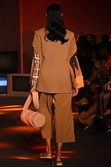 Beige Checkered High Neck Top by Kanika Goyal