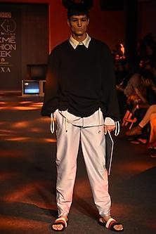White Pinstriped Shirt by Kanika Goyal Men