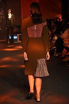 Olive Green Deconstructed Blazer Dress by Kanika Goyal