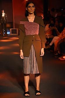 Magenta Off Shoulder Shimmery Bustier by Kanika Goyal
