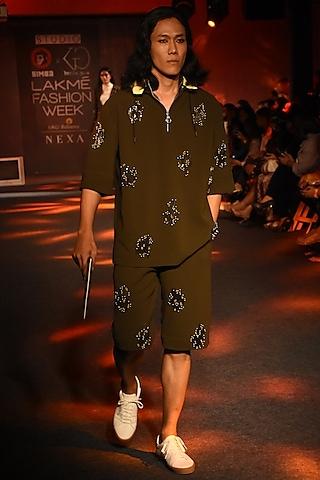 Olive Green Embroidered Shorts by Kanika Goyal Men