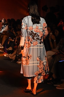 Powder Blue Printed Trench Coat by Kanika Goyal