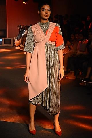 Multi Colored Draped Dress by Kanika Goyal