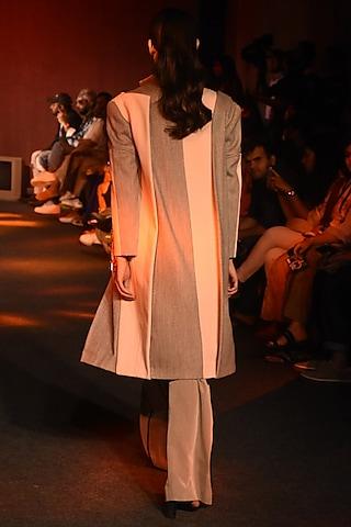 Pink & Grey Embroidered Jacket by Kanika Goyal