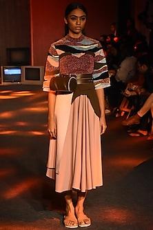 Pink Pleated Tube Dress by Kanika Goyal