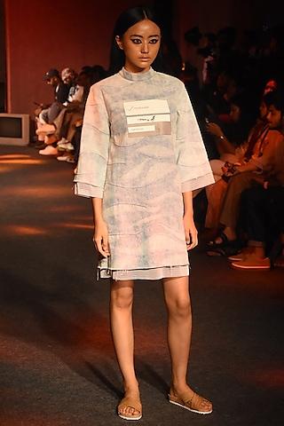 Powder Blue Wave Washed Denim Dress by Kanika Goyal