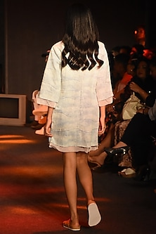 Powder Blue Wave Washed Denim Dress by Kanika Goyal