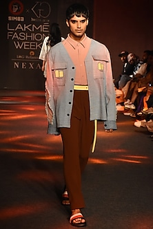 Powder Blue Denim Jacket by Kanika Goyal Men