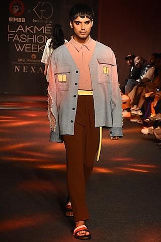 Brown Box Pleated Pants by Kanika Goyal Men